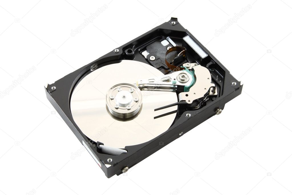 Black cover opened harddisk on white background. — Stock Photo #7255374