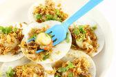 Blue fork dip shell sea food — Foto Stock