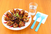Spicy herb fried chicken wings on the table. — Stock Photo