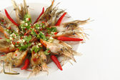 Part of spicy dressed salad prawn in round plate. — Foto Stock
