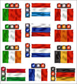 Traffic lights and flags - Europe — Stock Vector