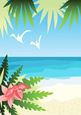 Bright sunny beach — Stock Vector