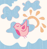 Little sweet flying bird — Vector de stock