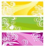Bright banners with floral elements — Stock Vector