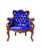 Vintage blue leather armchair on white background — Stock Photo