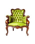 Vintage green leather armchair on white background — Stock Photo