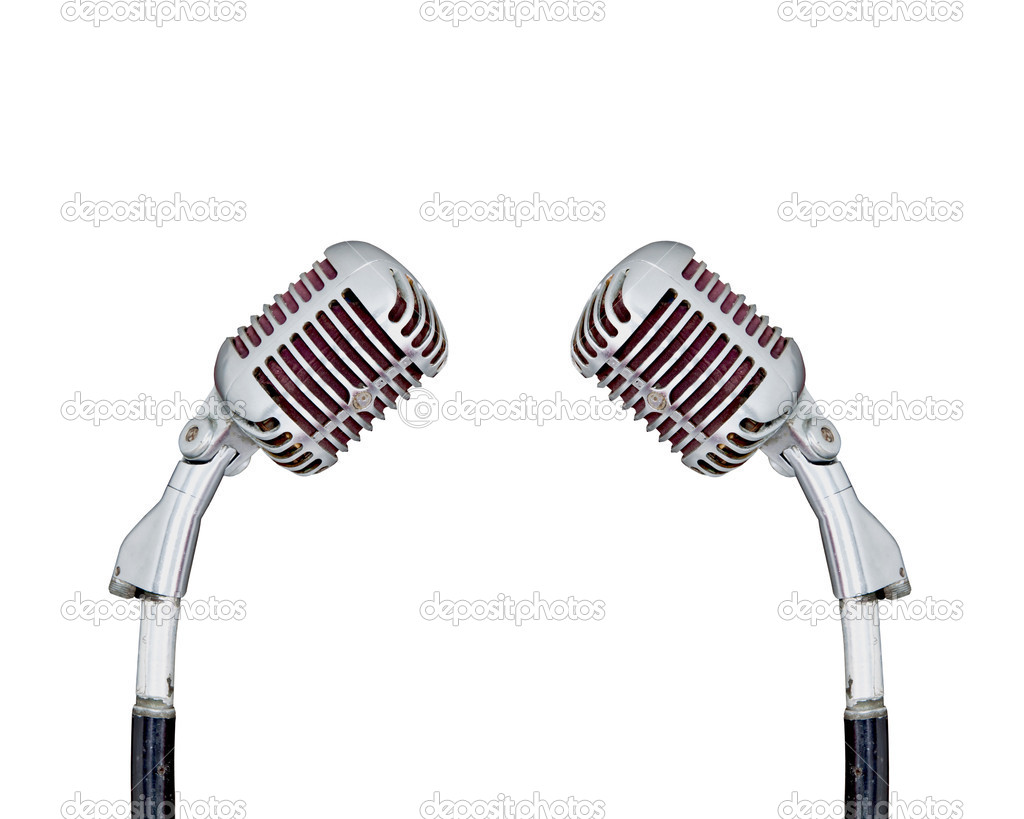Retro microphone isolated on white background — Stock Photo #7649485