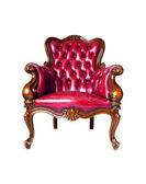 Vintage red leather armchair on white background — Stock Photo