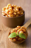 Bean with tomato and basil — Stock Photo