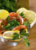 Salad from shrimps — Stock Photo