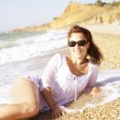 Woman on the beach — Stock Photo