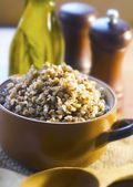 Buckwheat in bowl — Stock Photo