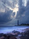 Coastal beacon, storm in the sea — Stock Photo