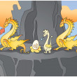 Royalty-Free Stock Vector Image: Family of yellow dragons on a rock 1