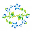Element of an ornament with green foliage and blue flowers 5 — Stock Vector