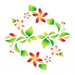 Element of an ornament with foliage, red flowers and cherry 8 - Image vectorielle