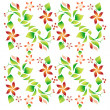 Ornament with foliage, red flowers and cherry 9 — Stock Vector