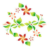 Element of an ornament with foliage, red flowers and cherry 8 — Stock Vector