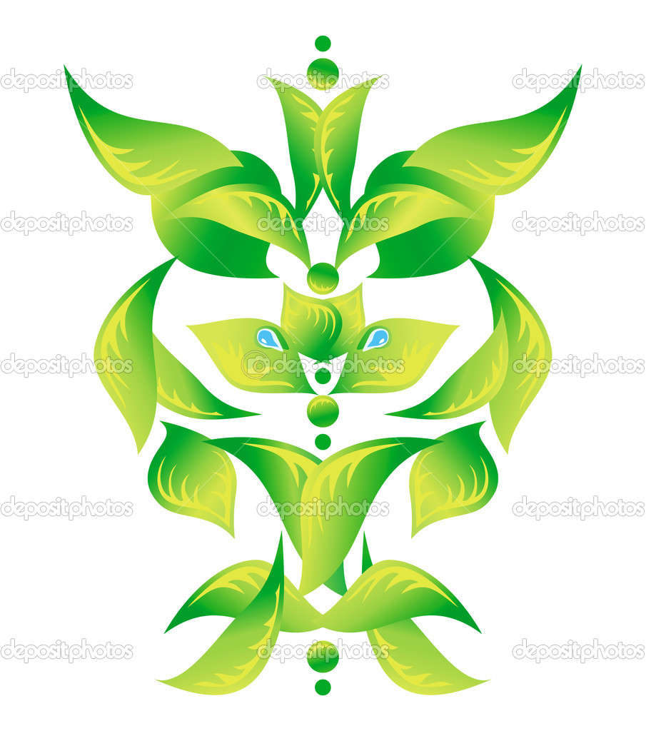 Element of an ornament with green foliage, vector — Stock Vector #7349498