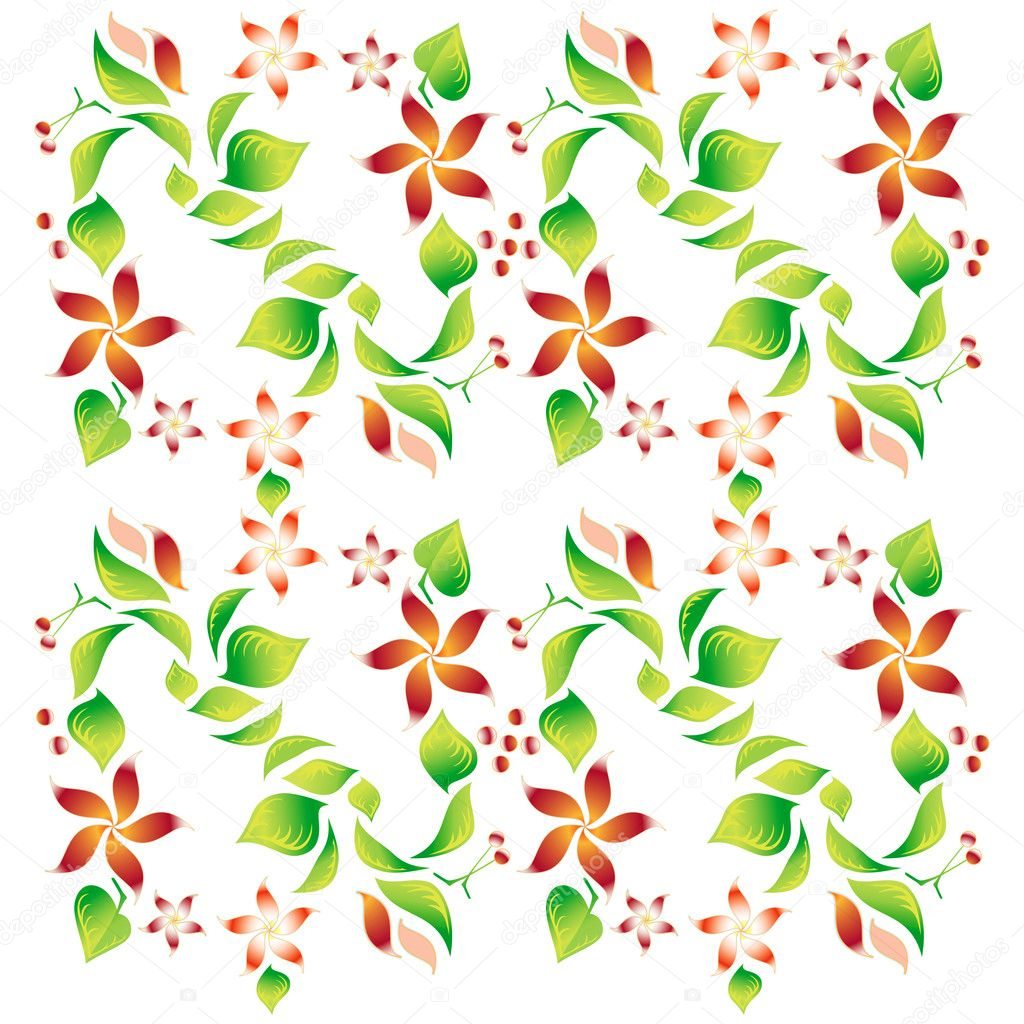 Ornament with foliage, red flowers and cherry, vector — Stock Vector #7349508