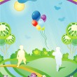 图库矢量图片: Landscape with silhouettes of children and departing balloons