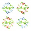 Set beautiful ornaments with foliage and flowers 10 — Stock Vector