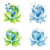 Set beautiful Ecology Logo 9 — Stock Vector