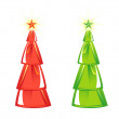 Christmas tree isolated on White background. four colors. Vector — Stock Vector