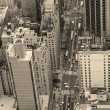 New York City Manhattan street aerial view black and white - Stock Photo