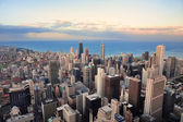 Chicago skyline at sunset — Stock Photo