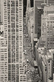 New York City Manhattan street aerial view black and white — Stock Photo