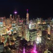 Chicago night aerial view - Stock Photo
