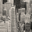New York City Manhattan street aerial view black and white — Stock Photo