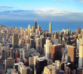 Chicago skyline at sunset — Stock Photo