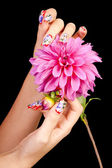 NAILS AND FLOWER — Stock Photo