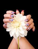 Fingernails and flower — Stock Photo