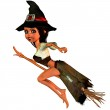 Little witch on the broom — Stock Photo