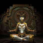 Woman in armor while meditating — Stock Photo