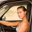 Beautiful Girl Portrait with Her New Vehicle — Stock Photo