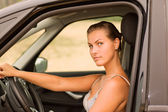 Beautiful Girl Portrait with Her New Vehicle — Foto de Stock