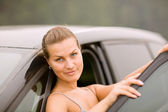 Beautiful Girl Portrait with Her New Vehicle — Foto Stock