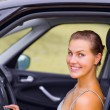 Stock Photo: Beautiful Girl Portrait with Her New Vehicle