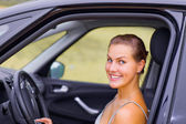 Beautiful Girl Portrait with Her New Vehicle — Photo