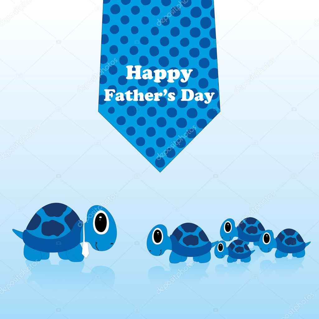 Happy father day greeting card with neck tie and tortoise — Stock Vector #6829206