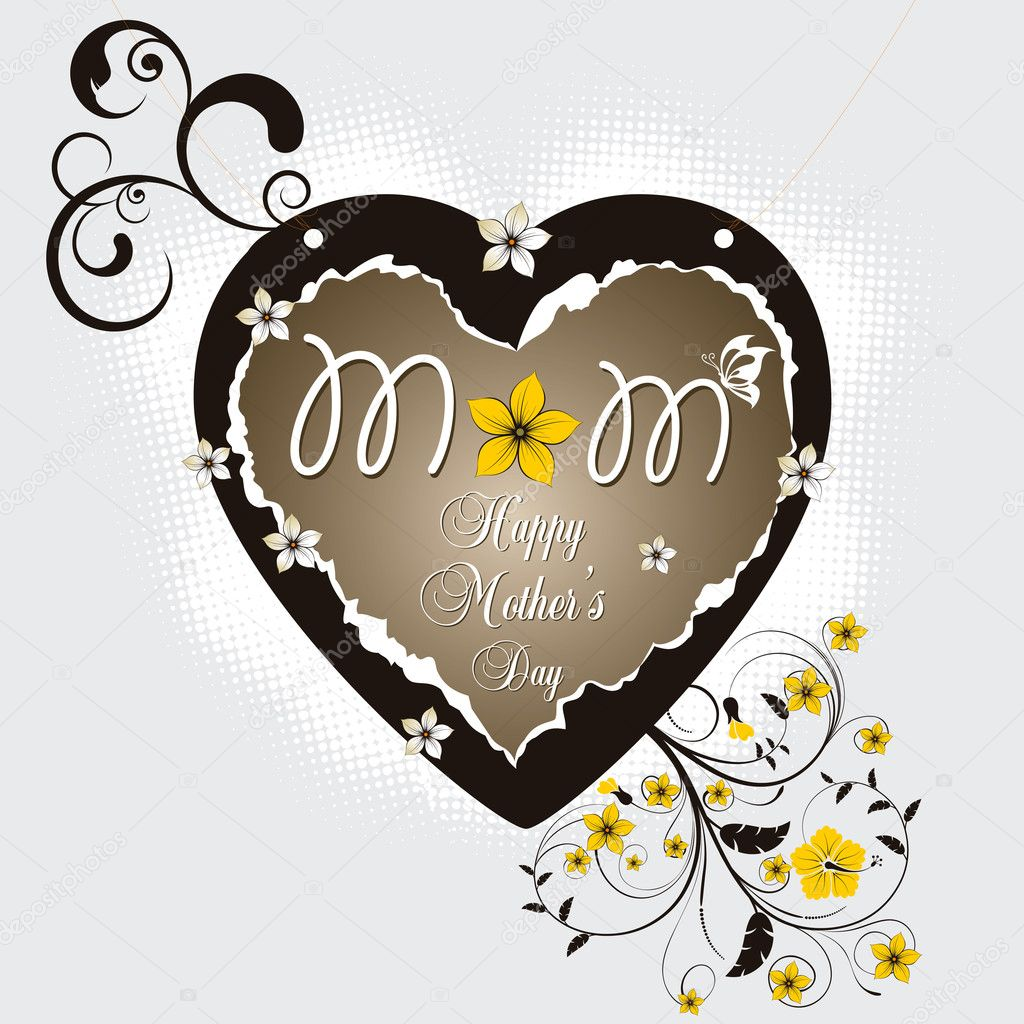 Mother day greeting with heart shape — Stock Vector #6829630
