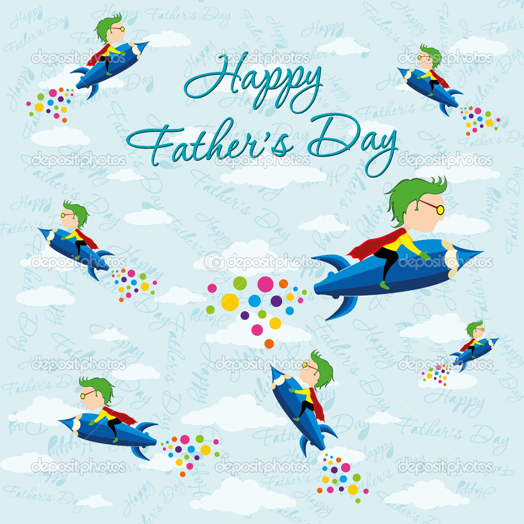 Children celebrate happy father day — Stock Vector #7388604