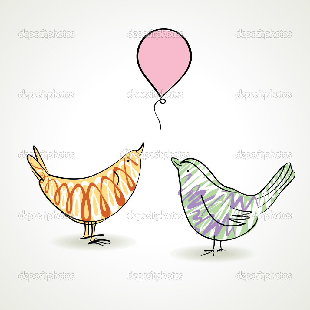 Two bird celebrate birthday and enjoy with balloon — Stock vektor #7669823