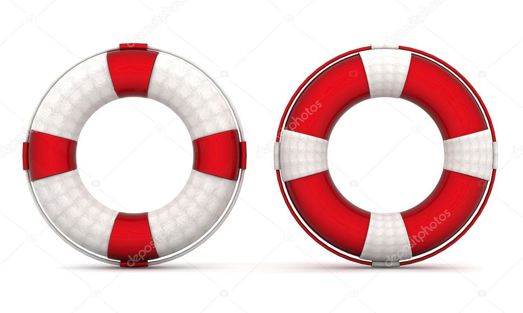 The image of a life buoy on a white background — Stock Photo #6843044