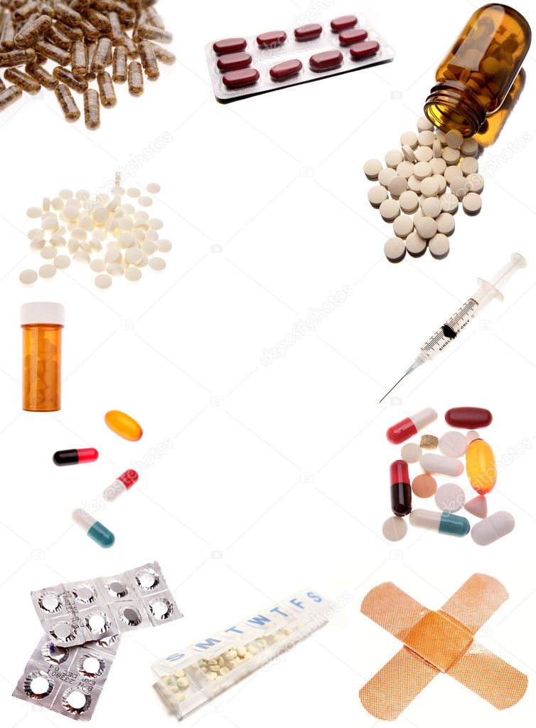Pharmaceutical products on plain background — Stock Photo #6796004