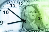 Clock and banknote — Stock Photo